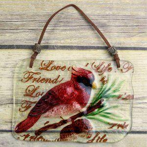 Cardinal Pine Cones Glass Wall Hanging Red Bird